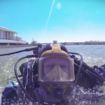 Our GoPro catches an MPD diver breaking the surface of the Potomac