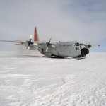 A U.S. Air Force C-130 on skis