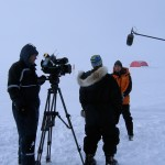 Filming on the Arctic ice